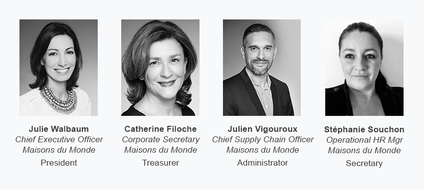 Julie Walbaum president, Catherine Filoche treasurer, Julien Vigouroux administrator, Stéphanie Souchon secretary