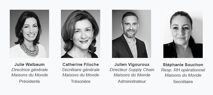 Julie Walbaum présidente, Catherine Filoche trésorière, Julien Vigouroux administrateur et Stéphanie Souchon secrétaire